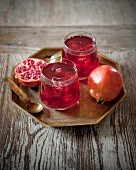Glasses of pomegranate cordial