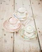 Cupcakes in flowery tea cups
