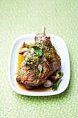 Leg of lamb with garlic and herbs