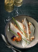 Sole fillets in creamy Champagne and shrimp sauce