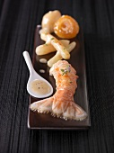 Dublin Bay prawns with reduced Champagne and lavander sauce, salsifies and stewed apricots