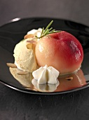 Peach poached in rosemary infusion with almond ice cream