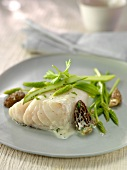 Cod with creamy Champagne sauce, morels and wild asparagus