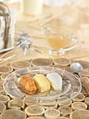 Trio of quince paste, potato and cream