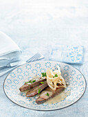 Lamb livers with onions