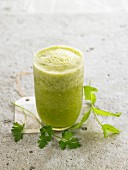 Smoothie with fresh mint and parsley