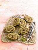 Green Tea and Azuki Cream Roll-Up Cookie