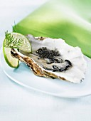 Oysters with caviar
