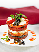 Mille-feuille with cheese, red bell pepper and mushrooms
