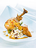 Chicken with honey and saffron, rice with morels