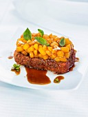 Breaded pork belly with gingerbread, peach tartar with basil