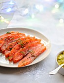 Sliced Gravlax salmon