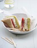 Raw tuna club sandwich