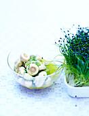 Pilzsalat mit Sprossen