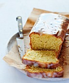 Pound cake coated with lemon icing