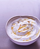 Whipped fromage blanc with honey and confit orange zests