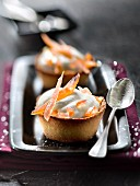Lemon mascarpone mousse and confit orange rinds in pastry cups