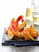 Sauteed gambas with lime, kumquat and lime chutney