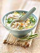 Pork ravioli and scallion Asian broth