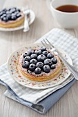 Blueberry puff pastry tartlet