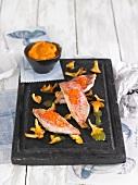 Catshark with salmon roe, chanterelles and sweet potatoes