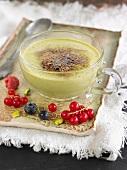 Pistachio Catalan cream dessert with summer fruit