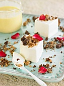 Panna Cotta Squares With Rose Petals,Almond And Chocolate Crumble And Custard