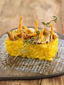 Pumpkin rice pudding topped with chanterelles