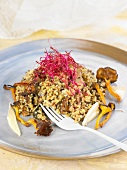 Royal quinoa with beetroot sprouts and chanterelles