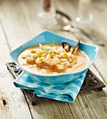 Dublin Bay prawn,mussel and smoked haddock chowder