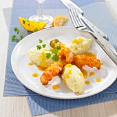 Crispy orange-flavored Dublin Bay prawns,mashed potato quenelles