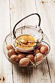 Crème brûlée in an egg basket