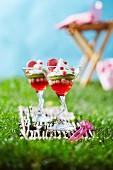 Zwei Gläschen Johannisbeergelee mit Kiwi, Sahne und Macaron im Gras