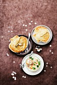 Scallops sealed in flaky pastry ,saffron and coconut milk scallop mini casserole