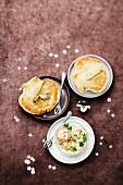 Scallops sealed in flaky pastry ,saffron and coconut milk scallop mini casserole