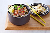 Vietnamese rice noodle and beef soup