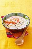 Orange lentil, shrimp and coconut milk soup
