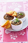 Small mushroom flans and parmesan tuiles