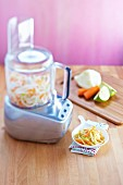 Preparing coleslaw with a food processor