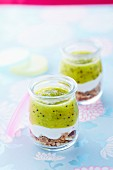 Plain yoghurt, kiwi puree and muesli verrines