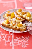 Coconut mousse and caramelized pineapple on brioche toast