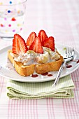 Rhubarb stewed with concentrated sweet milk and fresh strawberries on toasted brioche