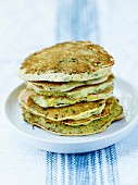 Green and yellow zucchini and ricotta pancakes