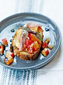 Fresh sardine ,pineapple tomato and red basil Bruschetta