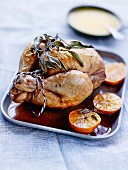 Capon stuffed with foie gras and clementines