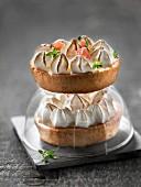 Individual pink grapefruit meringue pies