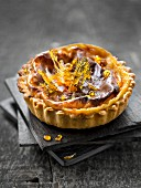 Toffee and fleur de sel sea salt baked egg custard pie