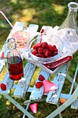 Raspberry juice in the garden