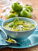 Green and yellow tomato gazpacho
