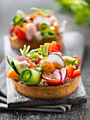 Tapenade and garden raw vegetable tartlets